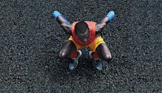 A runner crouched down