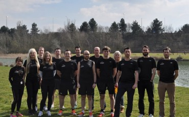 Team Wiggle runners pose for a photo outside Wiggle HQ