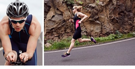 split image of two triathletes